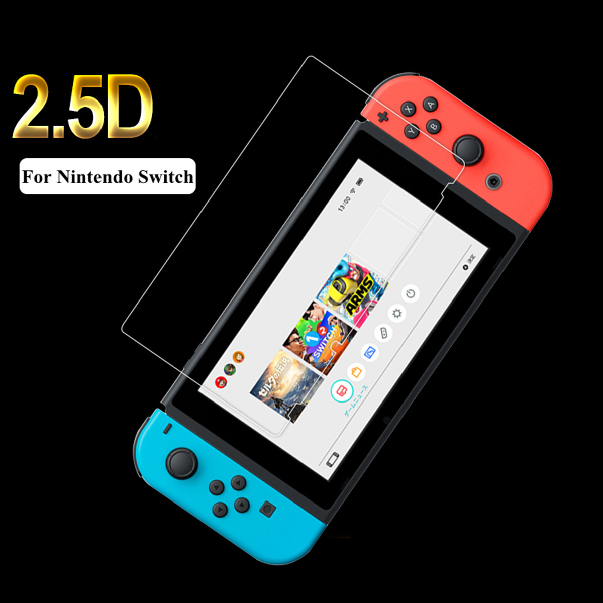 1PC Tempered Glass Screen Protector 2.5D Round Edges For Nintendo Switch Tempered Glass Hardness 9H Reduce Fingerprints