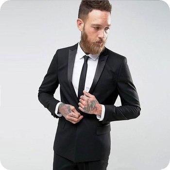 Black Casual Business Men Suits Beach Wedding Tuxedos Groom Wear Costume Homme 2Pieces(Jacket+Pants) Groomsman Suits Blazer