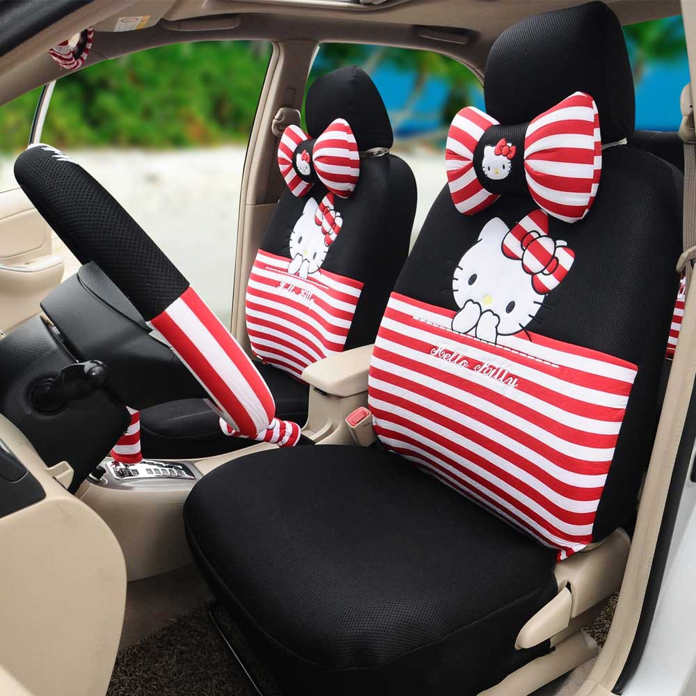 Classical Hello Kitty Car Seat Covers Ice Silk 18pcs Universal Cushion Steering Wheel Cover Five Person In Automobiles