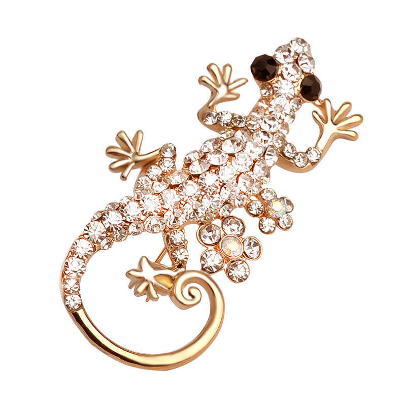 Elegant Animal Lizard Brooches Pins Women Ladies Female Fashion Jewelry Full Rhinestone Badge Scarf Clothes Wedding Party Gift