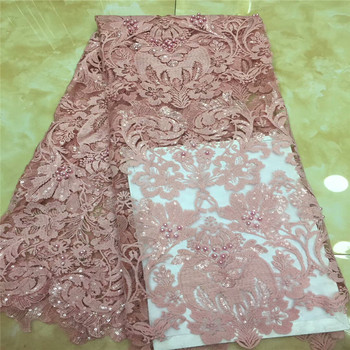 African Lace Fabric 2019 High Quality Lace Sequins Fabric French Nigerian Lace Fabric Embroidery Lace Wedding dress x2-83