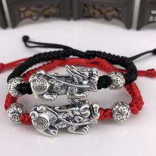 Настоящее серебро 999 богатство пиксиу браслеты 3D Чистое Серебро Богатство пиксиу плетеные браслеты Fengshui Pixiu браслеты на удачу