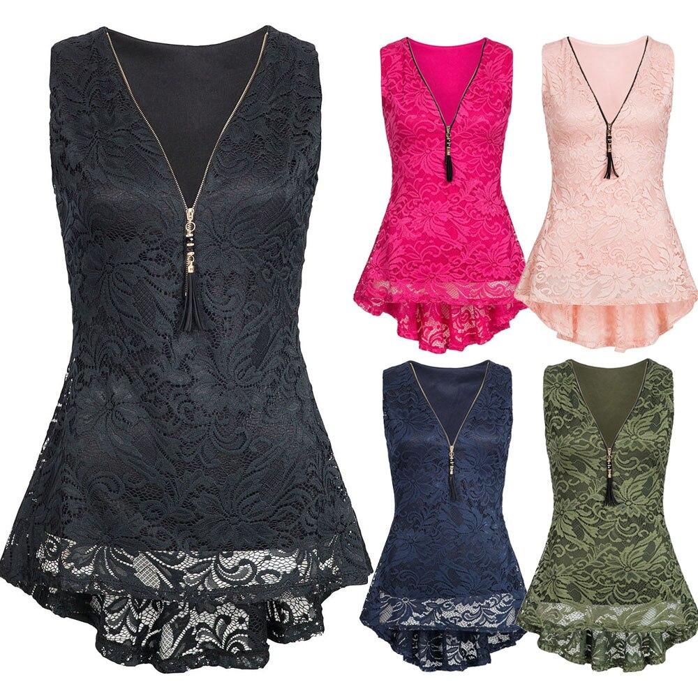Frauen Floral Spitze Druck Spitze Unregelmäßigen Boden Zip Up Tank Top Ärmellose Dünne Weste Reines T Shirts Roupas Femininas