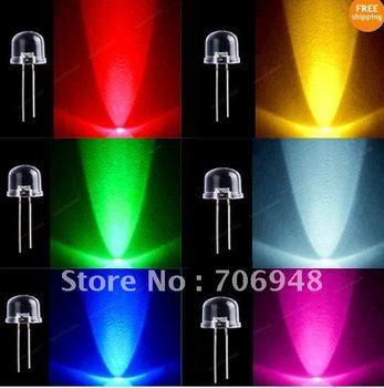 1200pcs LED Light Lamp 10mm Red Green Blue Yellow White Mixed 6 Colors 200pcs/each