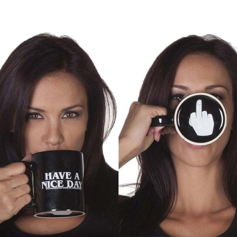 a54114e2f04 Transhome Creative Coffee Mug Middle Finger Funny Cup Have a Nice Day Mug  Coffee Mugs Travel Cups Ceramic Tea Cups Drinkware