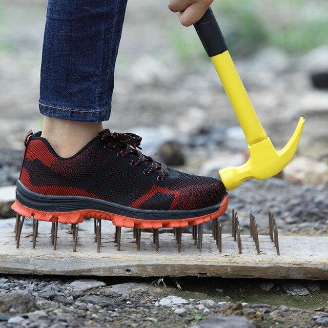 Erkek Nefes çelik burun Iş Güvenliği Ayakkabıları Erkekler Açık kaymaz Çelik Delinme Geçirmez Inşaat Güvenlik Botları Ayakkabı