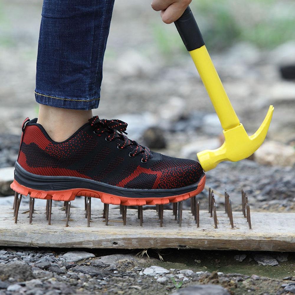 Respirables de los hombres de puntera de acero zapatos de seguridad zapatos de los hombres al aire libre Anti-deslizamiento de acero punción prueba construcción botas zapatos de trabajo