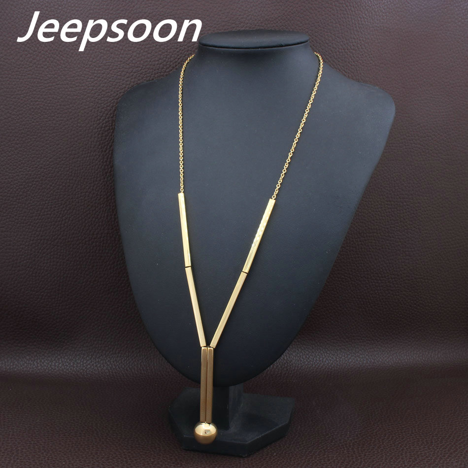 3 Colors Fashion Stainless Steel Jewelry For Woman Long Chain Necklace High Quality Jeepsoon NEIFAJCG