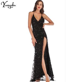 Sexy Black Gold Sequin Summer Dress women christmas bandage maxi party dress elegant bodycon Night club long dresses vestido New