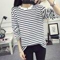 Primavera de Moda de Nova Tamanho Grande XXL V-notch Pinstripe camisetas para Mulheres Magro T-shirt Frouxo Fêmea Lazer Hit Cor Listrado topos