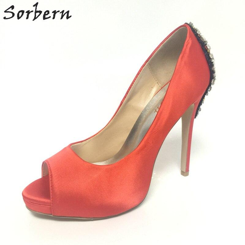Sorbern rouge Satin chaussures de mariage strass Peep Toe cristaux sans lacet chaussures de mariée personnalisé bas talons hauts plate-forme chaussures 34-46