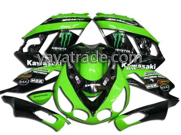 For Kawasaki ZX 14R 06-09 good Quality ABS Motorcycle Fairings/fairing kit/bodykits/body fairing/bodywork green/black