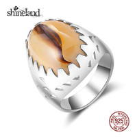 Shineland Vintage Brown Cat Eye Finger Rings Fashion Ethnic Charming Ancient Silver Rings For Men Women