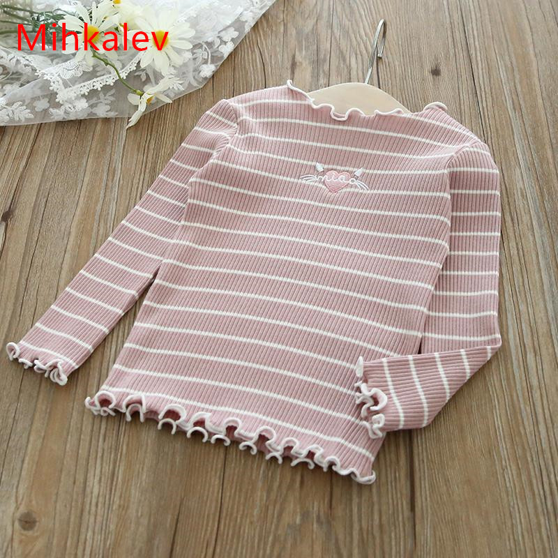 Mihkalev Casual kids clothes girl tshirt long sleeve children t-shirt and tops baby girls stripe clothes children clothing