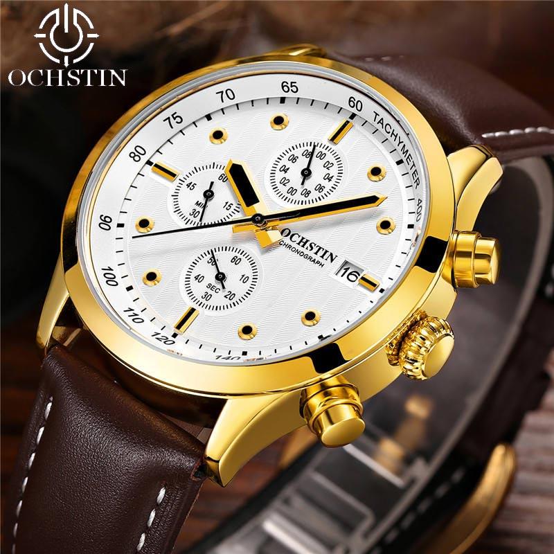 OCHSTIN Chronograph Date Men Watch Top Brand Luxury Military Sport Male Clock Casual Fashion Wrist Quartz Mens Watches Gift 042B