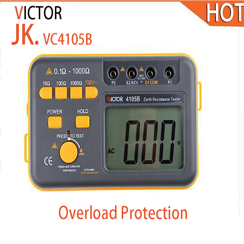 2018 hot VICIOR VC4105B 4105B Digital Earth Ground Resistance Tester Earth Voltmeter Ohmmeter 0.1~1000Ohm 750V цена 2017