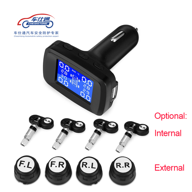 Car cigarette lighter TPMS LED display Internal or external tire pressure monitoring system / wireless transmission TPMS