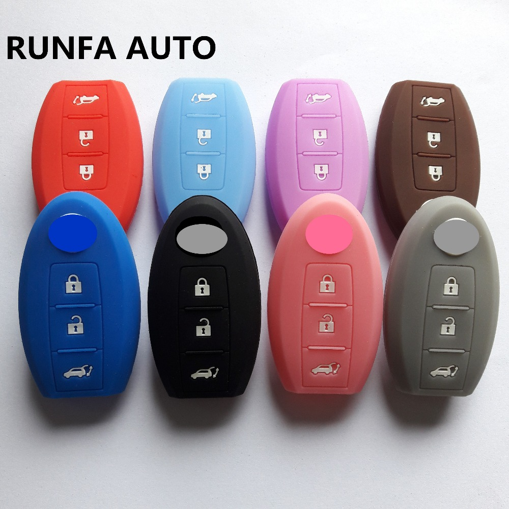 RUNFA AUTO Silicon 3 Button For Nissan X-Trail J11 Pulsar C13 Qashqai Skyline Juke Alissa Keyless Jacket Cover Case 10pcs