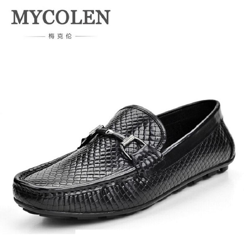 MYCOLEN Brand Fashion Slip-On Shoes Men Peas Loafers High Quality Cowhide Leather Men Flats Driving Shoes Zapatos Hombre new arrive leather fashion mens casual shoes cowhide driving slip on loafers men handmade flats shoes breathable zapatos hombre
