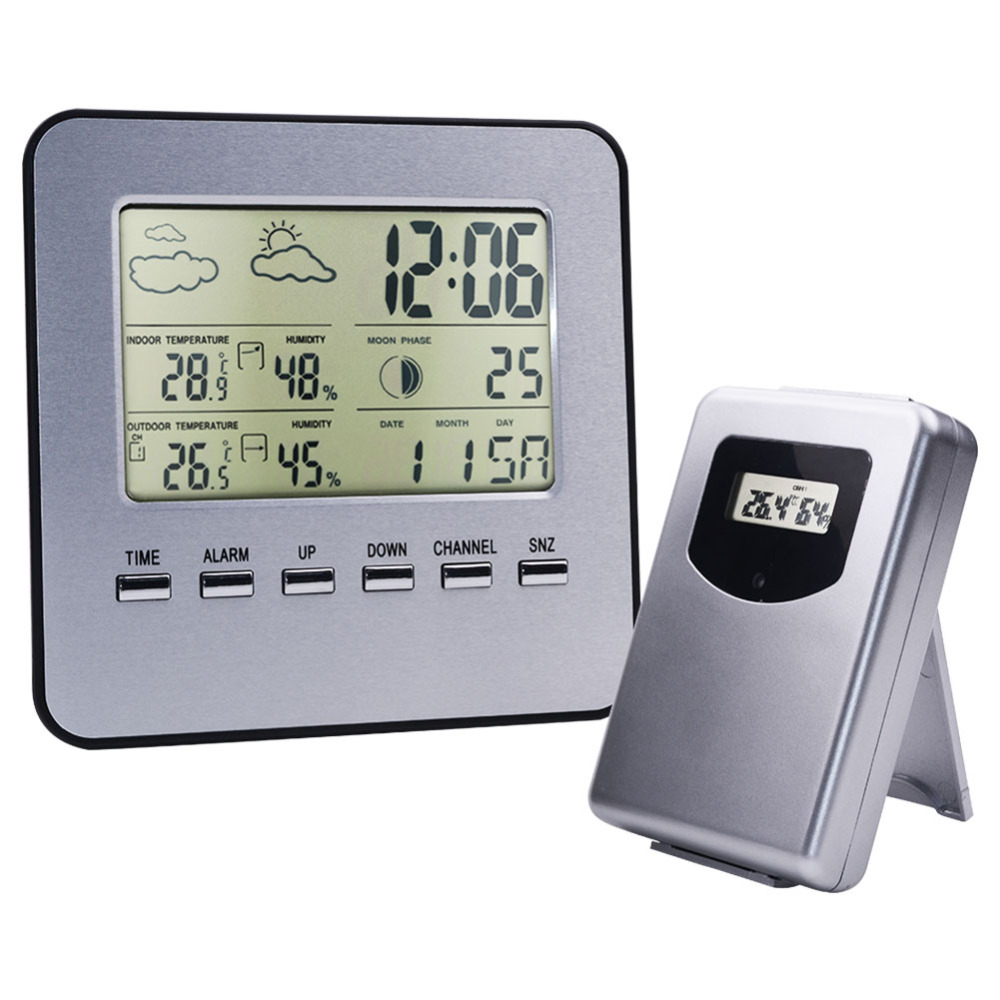 Digital Display Mini Electronic Wireless Indoor And Outdoor Temperature And Humidity Meter Time Weather Alarm Clock цена