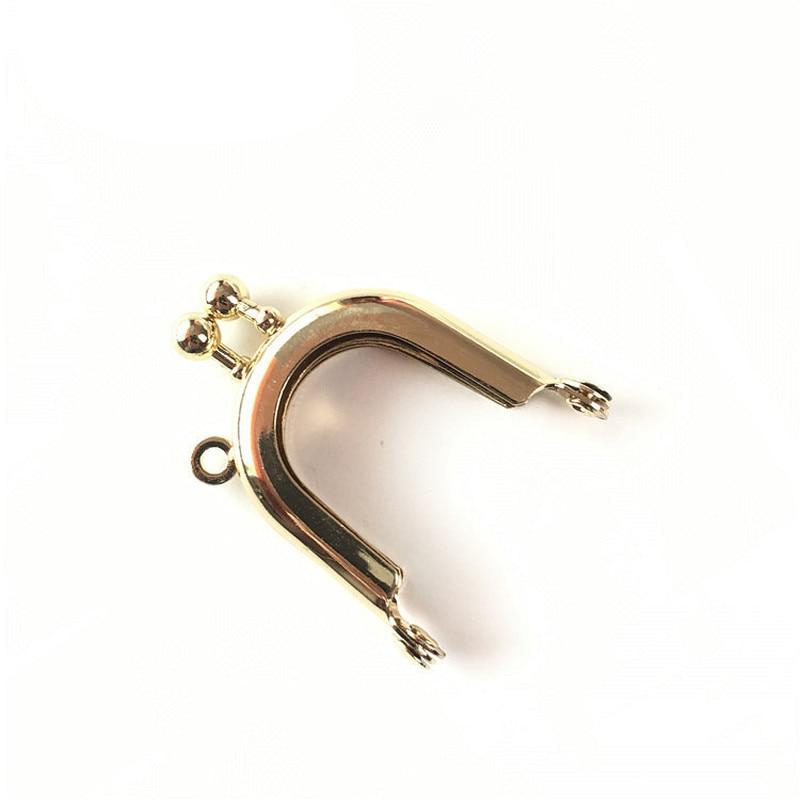 Kiss Clasp Lock Gold Tone Metal Frame Purse Mini Smooth Clutch Sewing Hole U Shape Casual Purse Bag Accessories 4cm 10Pcs