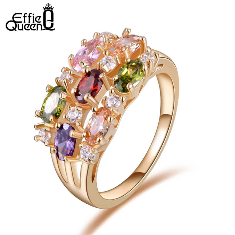 f849766cb Detail Feedback Questions about Effie Queen New Trendy Beautiful Zircon  Flower Ring Luxury Rose Gold color Women Wedding Engagement Rings Fashion  Jewelry ...