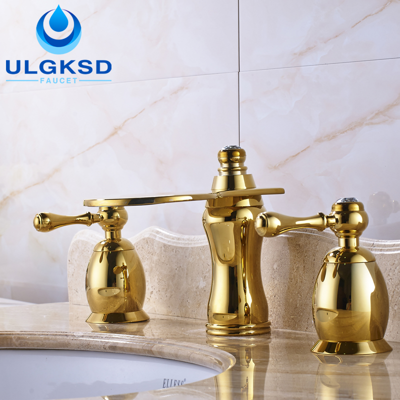 Ulgksd 3pcs Basin Faucet and Bathroom Sink Faucet Deck Mounted with Cold and Hot Mixer Water