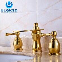 Ulgksd 3 pcs смеситель and кран раковины ванной комнаты на бортике с холодной and горячей воды смесителя краны золотой отделкой