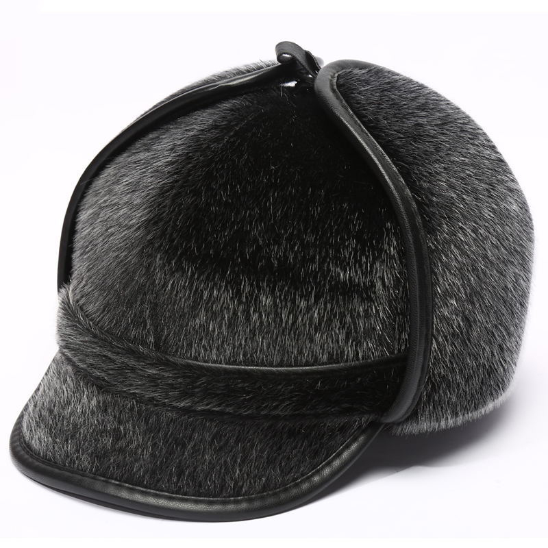 MNKNCL Warm Thickened Baseball Cap With Ears for Men Mink Hair Hat Snapback Hats Ear Flaps For Men Hats Winter Autumn Hats