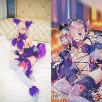 [Customize]+Ears+Tail+Socks Anime Fate Matthew / Jeanne Sexy Fury Fox Halloween Cosplay costumes for women NEW 2018 free ship