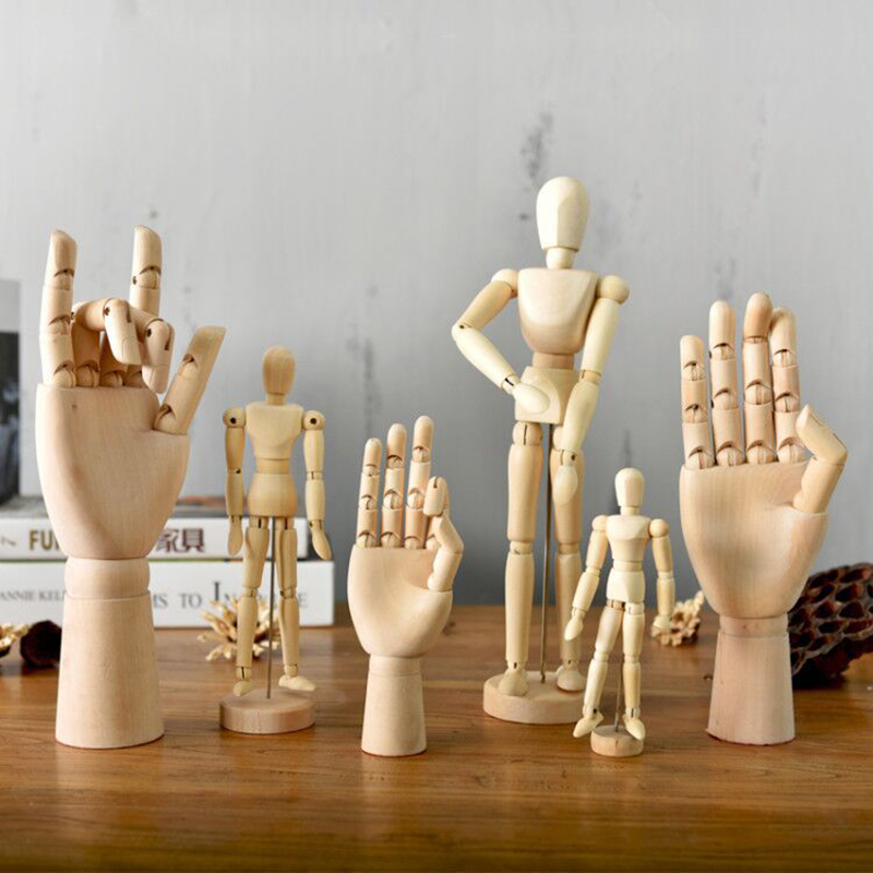 Movable Wood Man Joint Hand Model Drawing Sketch Modeling Children's Puzzle Toy Home Desk Figurines & Miniatures Decor Crafts