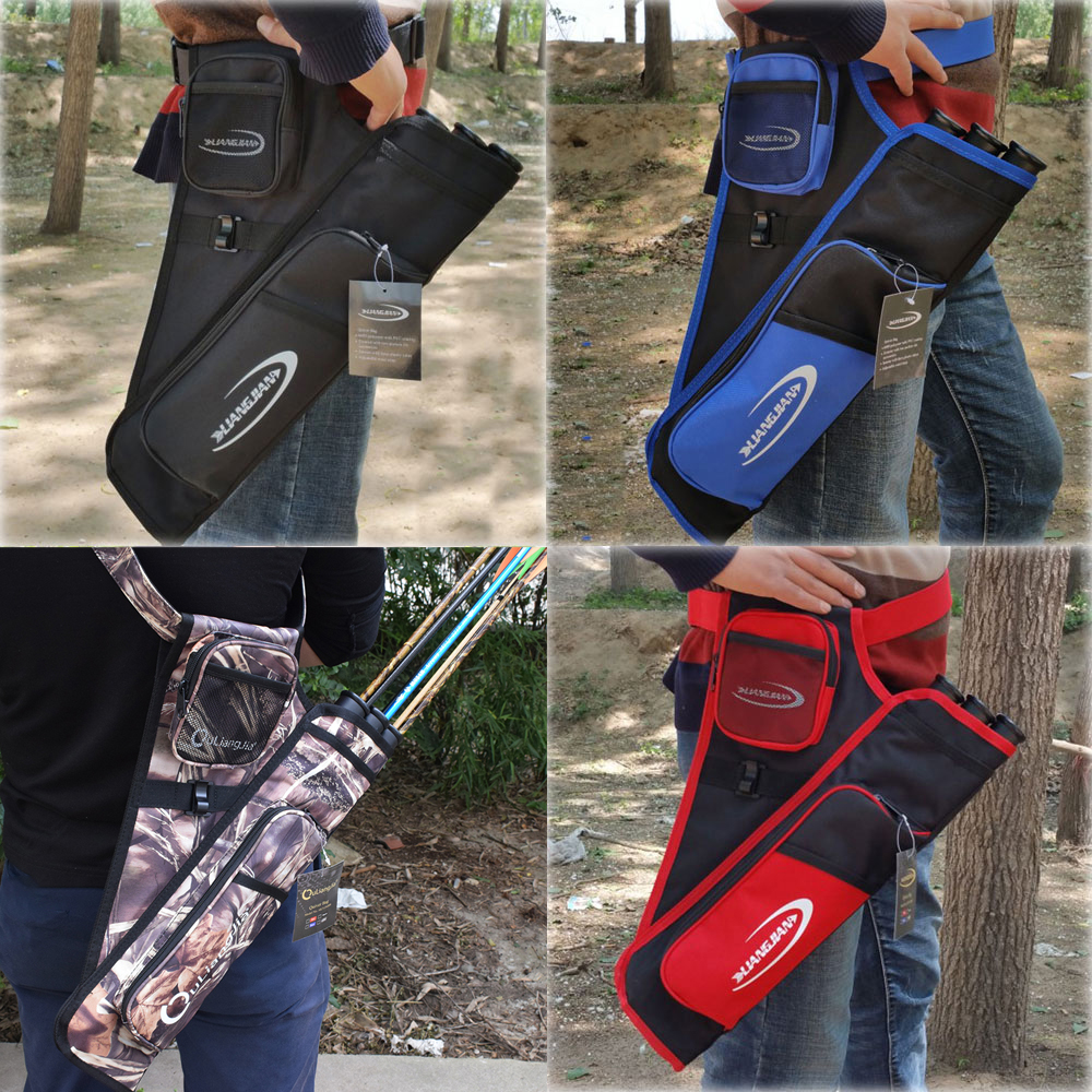 Archery Bow Arrow Waist Carrying Archery Quiver Bag Black Blue Red Camo Color Hunting Quiver Four Color dmar archery quiver recurve bow bag arrow holder black high class portable hunting achery accessories