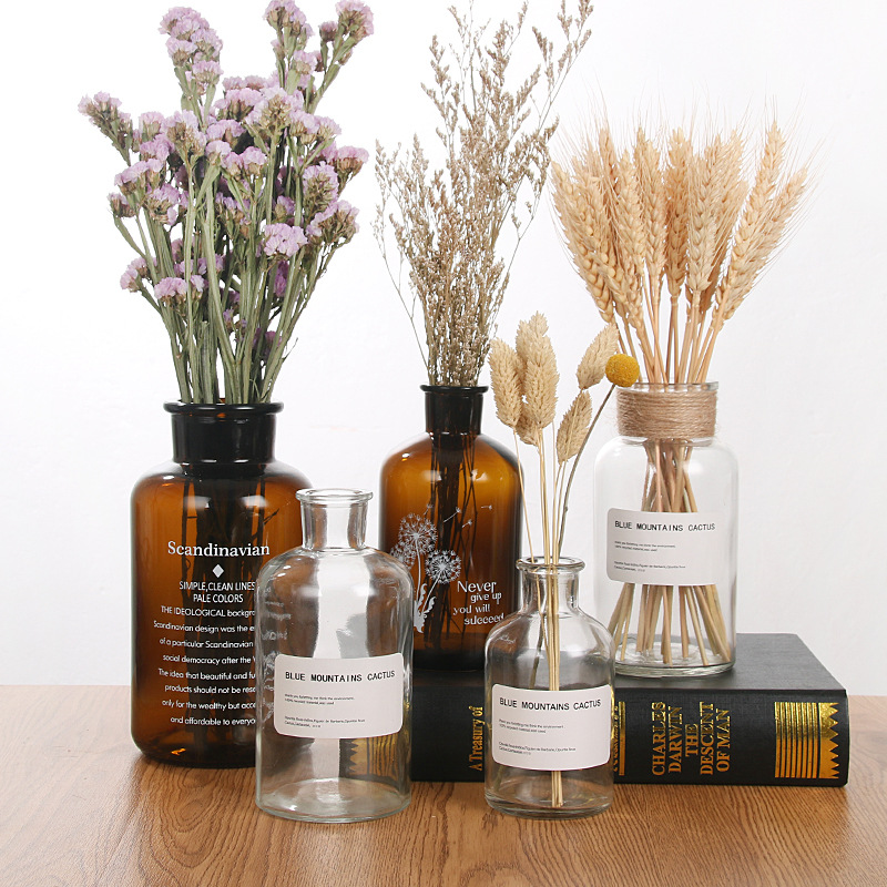 Nordic 20 Kinds INS Wind Glass Reagent Vase Hydroponic Dried Flower Small Vase Living Room Decoration with rope and sticker