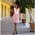 Custom Made Beautiful Pink Satin Deep V Neck Feather Knee Length Cocktail Dresses New Arrival 2017 Sexy Vestido Coctel Dresses