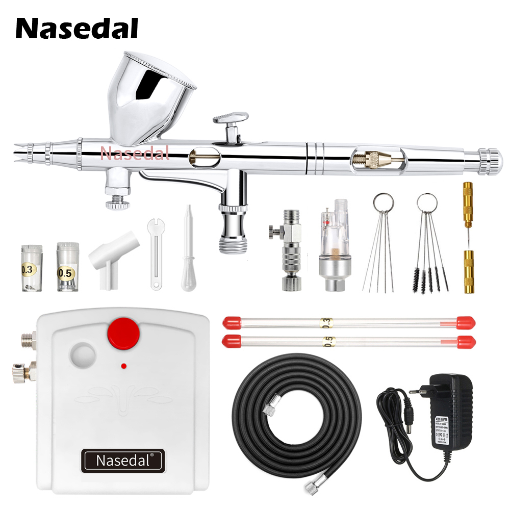 NT-18 Mini Airbrush Compressor Kit 9cc Dual-Action Airbrush Spary Gun 100-250V  Nail Art For Cake Car Painting Makeup Model
