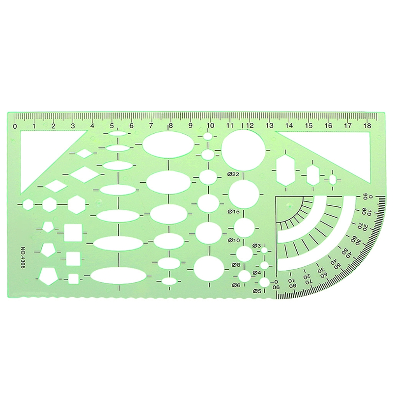 Green Geometric Template Ruler Drawing Tools Mapping Student Stationery School Accessories