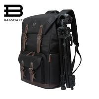BAGSMART холст и кожа ретро Камера сумка NATIONAL GEOGRAPHIC NG5070 Камера рюкзак черный Путешествия Камера рюкзак фотографии сумка