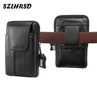 SZLHRSD New Men Genuine Leather Mobile Phone Cover Case Pocket Hip Belt Pack Waist Bag For