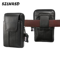SZLHRSD New Men Genuine Leather Mobile Phone Cover Case Pocket Hip Belt Pack Waist Bag For