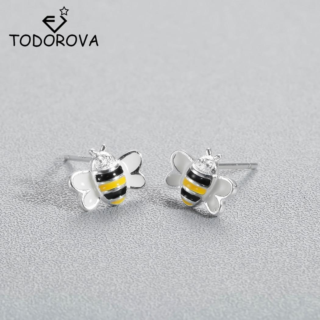 Todorova Fashion Cute Bee Stud Earring For Women Honey Bee Earrings Unique Design Tiny Animal Earrings Ladies Gift