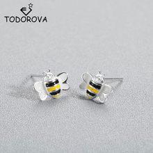 f4de8533a Todorova Fashion Cute Bee Stud Earring for Women Honey Bee Earrings Unique  Design Tiny Animal Earrings Ladies Gift