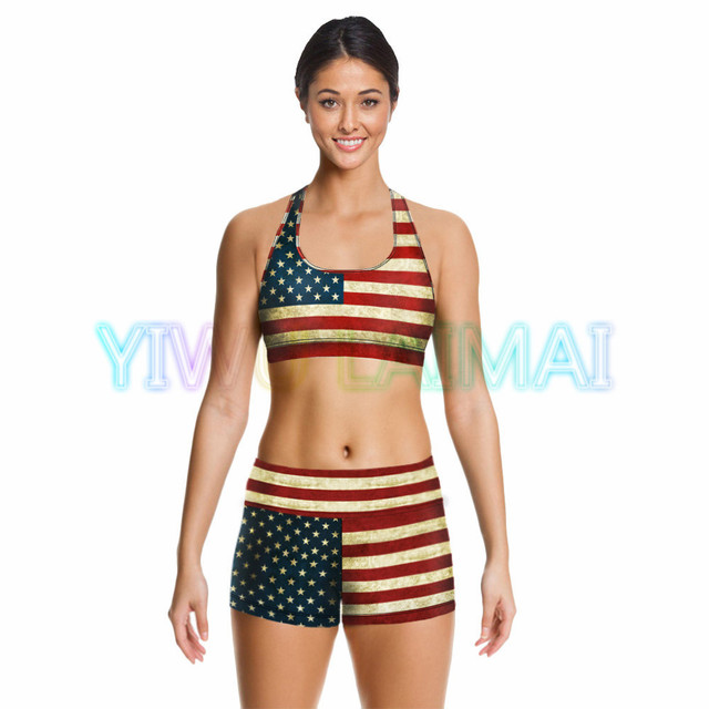 0429529d96a JIGERJOGER 2016 Hot Digital Print Sublimation USA American Flag Star Red  strip Plus size Fitness Running Bra Yoga Shorts S M L