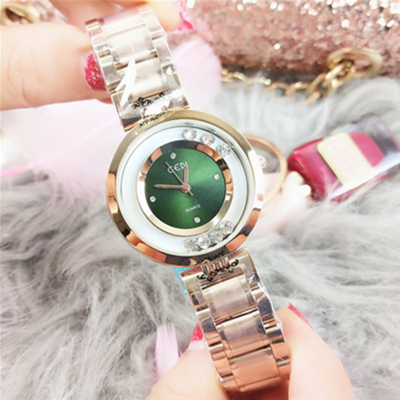 Women 39 s Watch Casual Fashion Steel Belt with Diamond Rose Gold Quartz Student Watch Chronograph Dress Watches Women in Women 39 s Watches from Watches