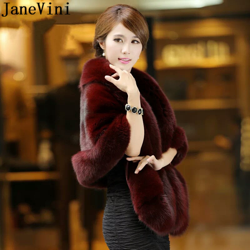 JaneVini 165*55 cm Plus Size Women Fur Shoulder Wrap Burgundy Bridal Shawls Cape White Black Faux Fur Wedding Shrug Coat Boleros