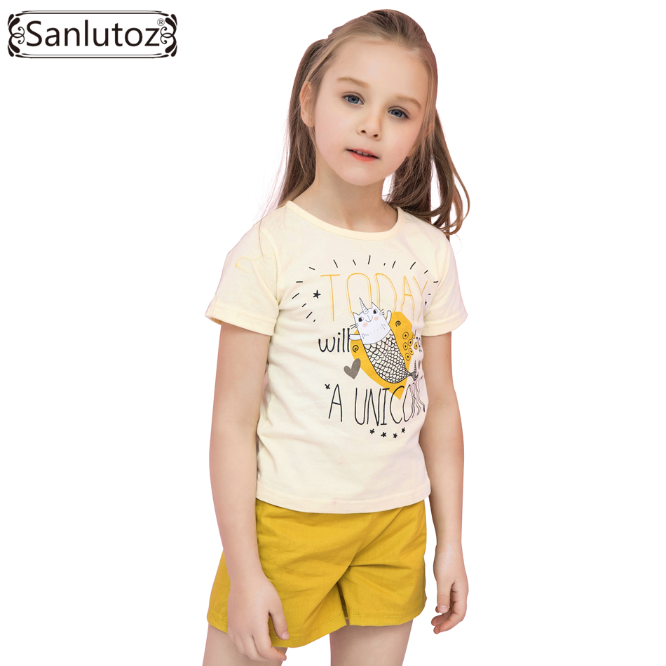 Sanlutoz Cotton Girls Sports Suit Summer Cute Cartoon Kid Clothes Fashion Girls Clothes 2017 Brand Toddler ( T-Shirt + Shorts )