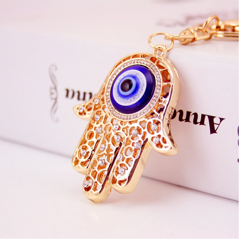 H:HYDE Lucky Charm Amulet Hamsa Fatima Hand Eyes Keychains Purse Bag Buckle Pendant For Car Keyrings key chains holder women