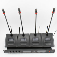 4 Canais Receptor LCD painel sem fio Série Syetem rádio Transmissor Gooseneck Microfone Da Conferência Microfone Sem Fio Profissional