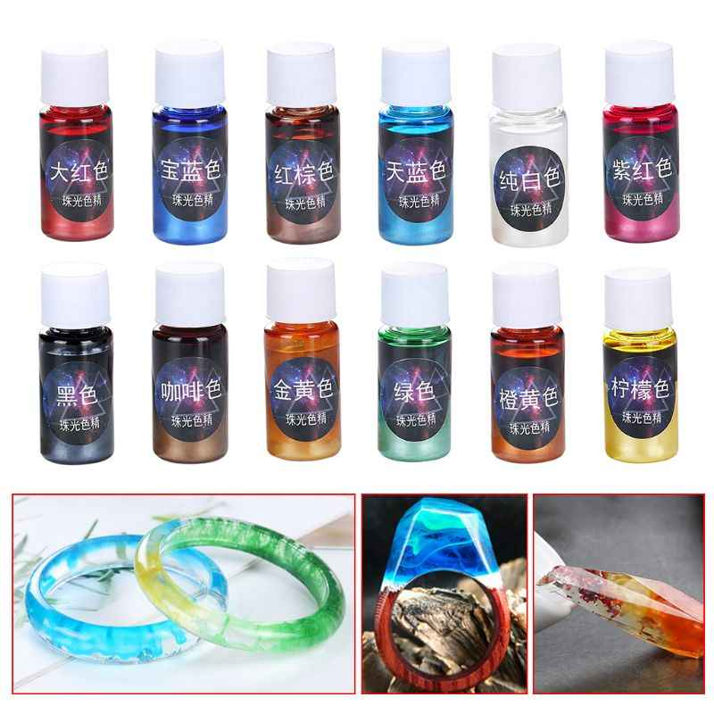 10ml Pearlescent Pigment Powder Rainbow UV Resin Epoxy Material For DIY Jewelry Pendant Making Crafts Accessories 12 Colors
