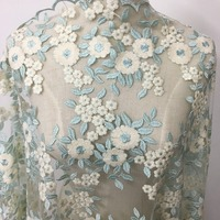 2017 thiết kế Mới màu xanh bạc hà kỳ nghỉ đầy đủ đầm ren vải Multi màu sắc đáng yêu flowers wedding gowns ren 1 yard/lô miễn phí tàu!