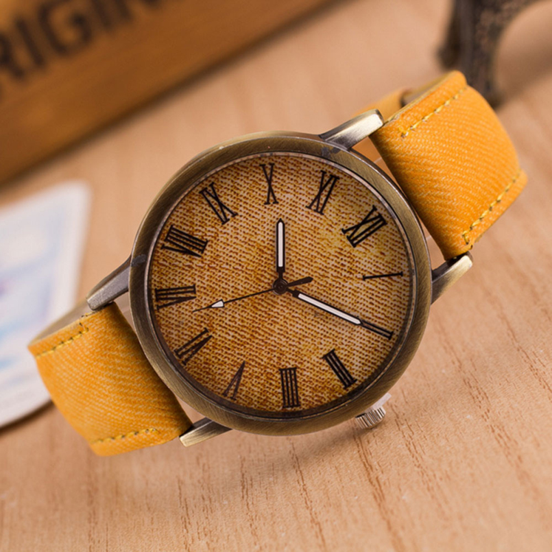 Excellent Quality New Fashion Casual Quartz Watch Women Vintage Dial Cowboy Strap Band Analog Watches Relogio Feminino for Gift